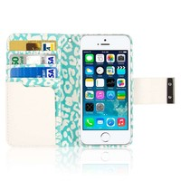 iPhone SE / 5S / 5 Wallet Case, EMPIRE KLIX Klutch Designer Wallet [4 Slots] Inner Hard Polycarbonate Felt Lining Case for iPhone SE / 5S /5 with Magnetic Flap & Hand Strap [Perfect Fit & Precise Port] - Mint Leopard