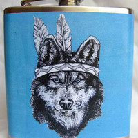 American Indian Flask  Blue Wolf by Bloodlines on Etsy