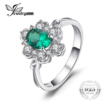 JewelryPalace Elegant 0.7ct Oval Created Green Emerald Solitaire Anniversary Promise Ring Solid 925 Sterling Silver For Women