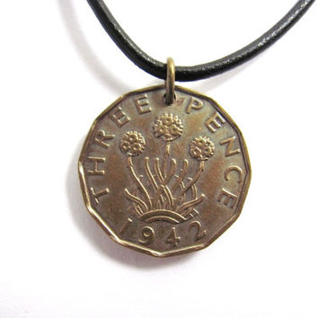 1942 Coin Necklace 3 Pence United Kingdom Great Britain Northern Ireland Vintage Jewelry by Hendywood