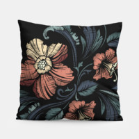 Black Floral Pillow, Live Heroes