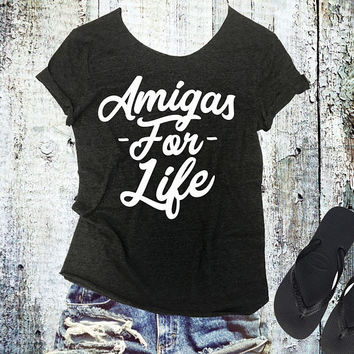 Amigas For Life Raw Edge Off Shoulder Tee - Womens Off Shoulder TShirt - Sexy Tee - Yoga Shirt - Gym TShirt - Pilates Tee - Workout Shirt