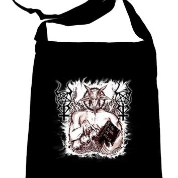 Satanic Baphomet Goat Devil Crossbody Sling Bag Occult Metal