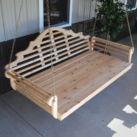 A & L Furniture Extra Large 75 in. Marlboro Cedar Swing Bed with Optional Cushion... | www.hayneedle.com