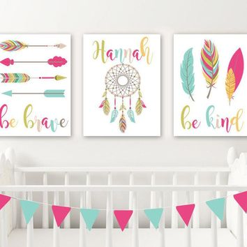 TRIBAL Girl Nursery Decor, Baby Girl Boho Nursery Wall Art, Boho Tribal Bedroom Feather Arrows Be Brave Be Kind, Set of 3 Canvas or Print