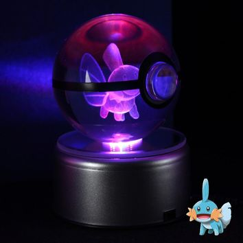 Mudkip 3D Crystal Ball  Go Lamp Desktop Decoration Glass Ball Night Light With LED Colorful Rotate BaseKawaii Pokemon go  AT_89_9