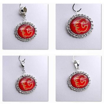Pendant Charms Rhinestone NHL Calgary Flames Charms for Bracelet Necklace for Women Men Ice Hockey Fans Paty Fashion 2017