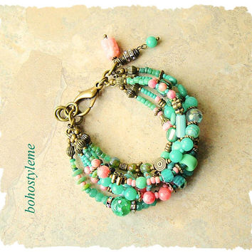 Boho Layered Bracelet, Deep Sea Treasure, Beaded Bracelet, Bohemian Jewelry, Blue Green, bohostyleme, Kaye Kraus