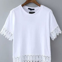 White Short Sleeve Lace Embroidered Cropped T-Shirt