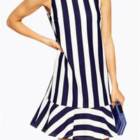 Halter Hit Color Stripe Loose Flounced Dress