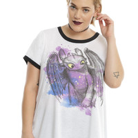 How To Train Your Dragon Toothless Watercolor Girls Ringer T-Shirt Plus Size