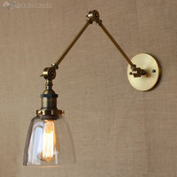 Loft Industrial Wall Decorative Lighting Lamp Lampe Vintage Bedside Light Fixture Clear Glass Lampshade Lights E27 Edison Bulbs