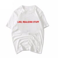 Red letter printed women T-shirt short sleeve fashion shirt white Casual tee