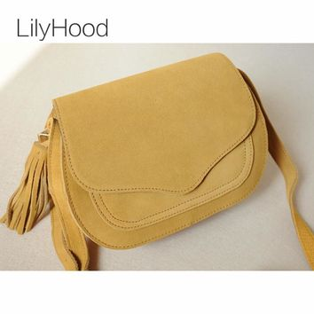2017 Women Real Leather Saddle Bag Retro Bohemian Hippie Ibiza Fringe Burgundy Soft Cute Mini Cross Body Over Shoulder Pouch Bag
