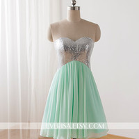 Short Prom dress A-line sweetheart Mini Chiffon Prom Dress Criss-cross Back