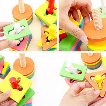 Best Kids Educational Game Wooden Block Toy 5 Pillar Matching Color Shape Z .T