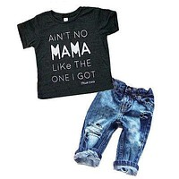 Newborn Toddler Infant Clothing,Cool Baby Boy Clothes outfits,Baby kids T-shirt Top Tee +Ripped Jeans Denim Pants Outfits Set