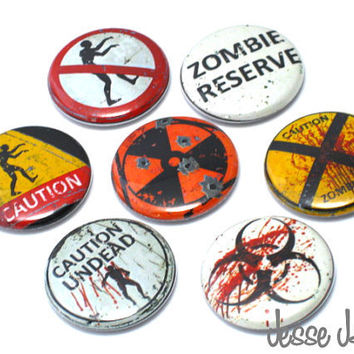 ZOMBIES Caution Undead Zombies Reserve set of 7 by jessejanes