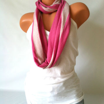 Cross Body Sash Infinity Scarf - Sparkle Scarf, Soft Knit Infinity Scarf, Pink Stripe Scarf, Gift for Her, Stylish Accessories, Trendy Scarf