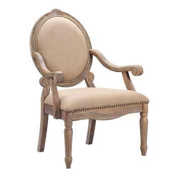 Mi-Zone Madison Park Brentwood Oval Back Exposed Wood Arm Chair