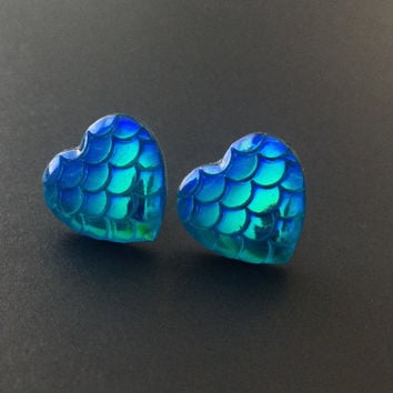 Mermaid Earrings, Heart Earrings, Mermaid Scales, Iridescent Earrings, Blue Mermaid, 90s Jewelry, Mermaid Tail, Tumblr Jewelry, Blue Scales