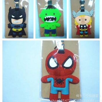 lovely Toy Superhero Spiderman Ironman Luggage tag Suitcase Baggage PVC luggage tags Travel Name Tag Action Toy 402