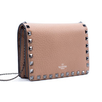 Valentino Womens Rockstud Nude Leather Chain Shoulder Bag
