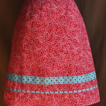 A-Line Skirt -- Red and White Floral Print -- Blue and Red Polka Dot Trim -- Custom Sizes Available