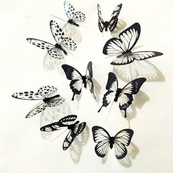18 Pcs 3D Black White Butterfly Sticker Art Wall Decal Mural Home Decoration