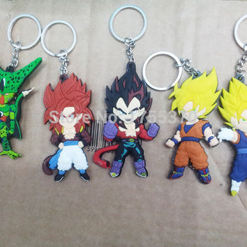 5pcs/set Dragon Ball Z Son Goku Vegeta PVC Figure Action Keychains