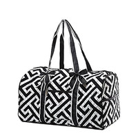 Quilted Maze Print Large Duffle Bag - 20-in (Black)