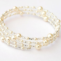 Pearl Bridal Bracelet Dazzle Multi Layer by jewellerymadebyme