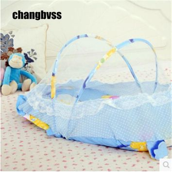 Cunas portables Portable crib Baby mosquito net Bed tent with cotton cushion Netting Children Canopy Playpen Floding Cartoon