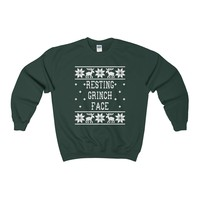 Ugly Christmas Sweater - Resting Grinch Face Sweatshirt