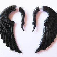 Stunning black swan horn fake gauges by shayisa on Etsy [sold out]