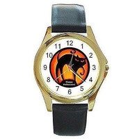 Halloween, Gothic Black Cat on Orange on a Gold Tone Watch with Leather Band