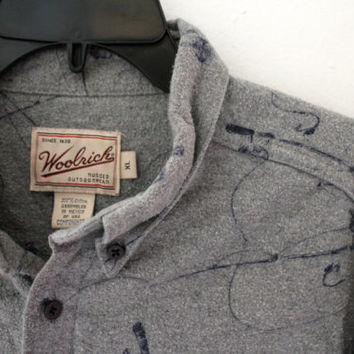 Woolrich Outdoors Fishing 100% Cotton Gray Shirt Mens size XL Extra Large