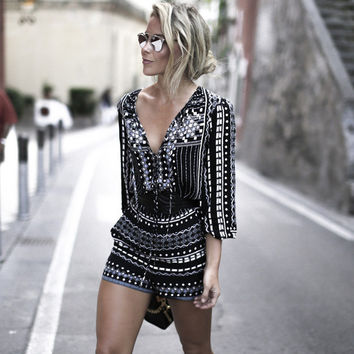 Deep V Long Sleeve Print Shorts Jumpsuit [6046236545]