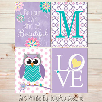 Nursery Art Purple Turquoise Nursery Wall Art Girls Room Wall Decor Owl Nursery Art Toddler Girl Bedroom Art Flower Nursery Art Prints #0626