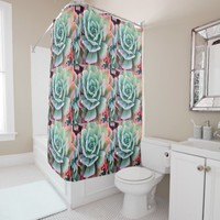Chic, trendy, pink and green cacti close-up photo shower curtain
