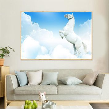 Abstract Paintings Large Size Snow Horses Racing Canvas Pictures for Living Room Wall Art Home Decor Scandinavian Decor Room