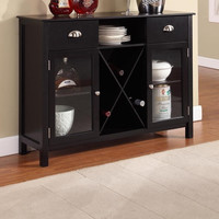 Black Dining Room Buffet Server Sideboard with Wine Rack & Glass Doors
