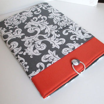 "Macbook Pro 15"" Case, Macbook Pro 15"" Sleeve, Laptop Cover, Laptop Sleeve, Coral and Gray"