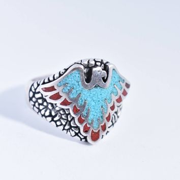 Vintage Native American Style Southwestern Real Turquoise Coral Stone inlay Mens Hawk Ring