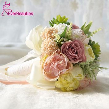 Bridal Wedding Bouquets Countryside Style Wedding Artificial Wedding Flowers Brooch Bouquets Buque de noiva Outside Wedding