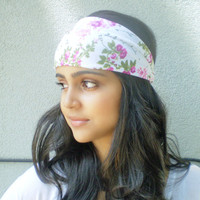 White and Pink Floral Headwrap Flower Hippie Headband Bohemian Hair Accessories
