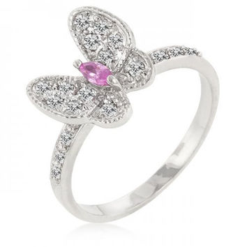 Cubic Zirconia Butterfly Cocktail Ring (size: 10) (pack of 1 ea)