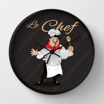 Le Chef Kitchen decor French chef with a mustache cartoon character illustration Wall Clock by Bad English Cat