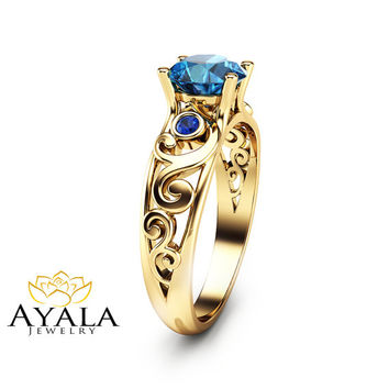 Topaz and Sapphire Engagement Ring Filigree 14K Yellow Gold Engagement Ring Unique Design Gemstone Ring Art Deco Styled Band
