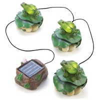 Solar Light Powered Frog Figurine Trio Garden Decor